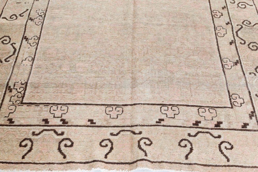 "Vintage Samarkand ""Khotan"" Pale Dusty Pink and Brown Rug BB7423"