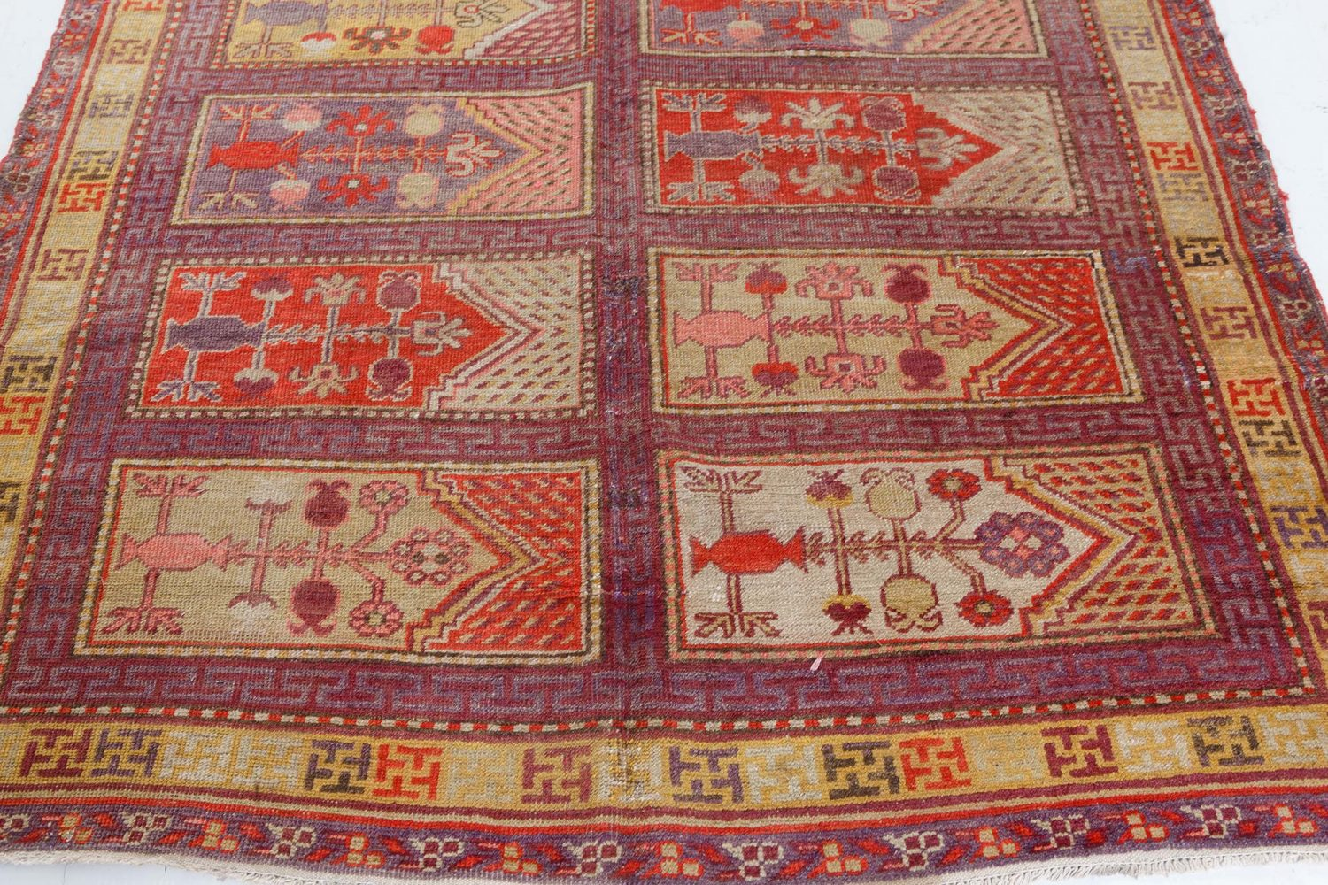 Khotan Samarkand Purple, Red and Beige Hand Knotted Wool Rug BB7425