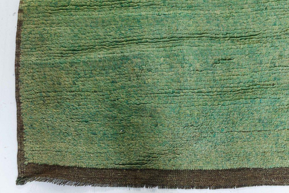 Mid Century Turkish Tulu Green Handwoven Wool Rug BB7427