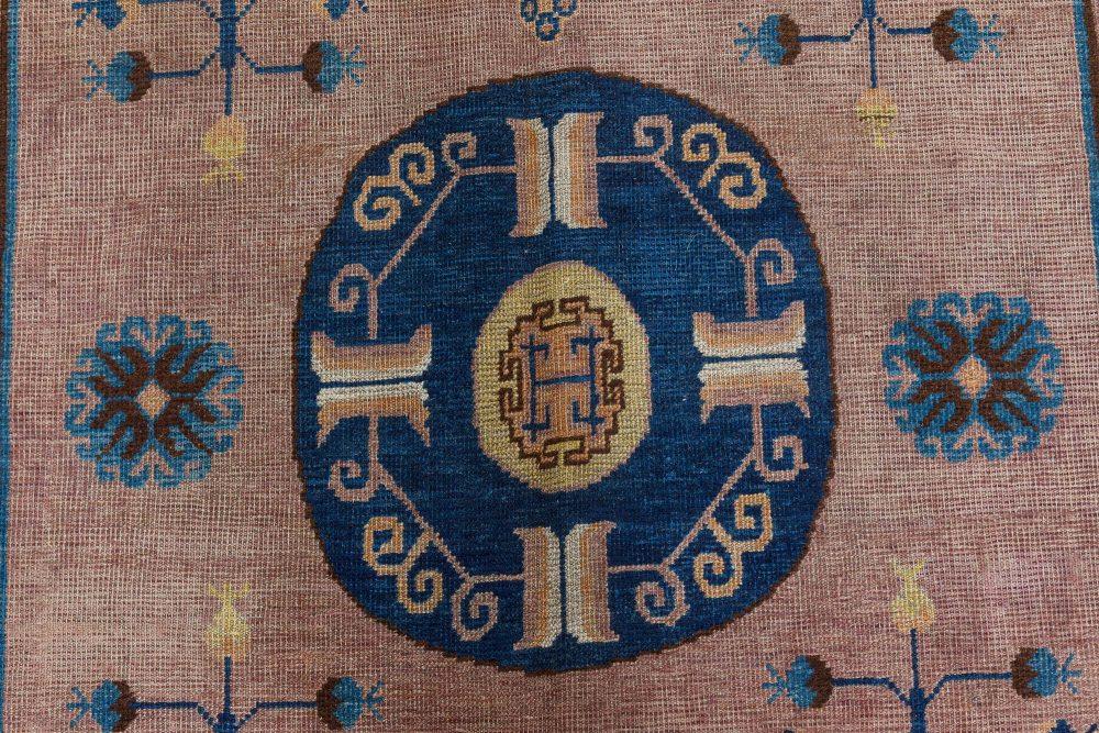"Vintage Samarkand ""Khotan"" Light Brown and Blue Hand Knotted Wool Rug BB7429"