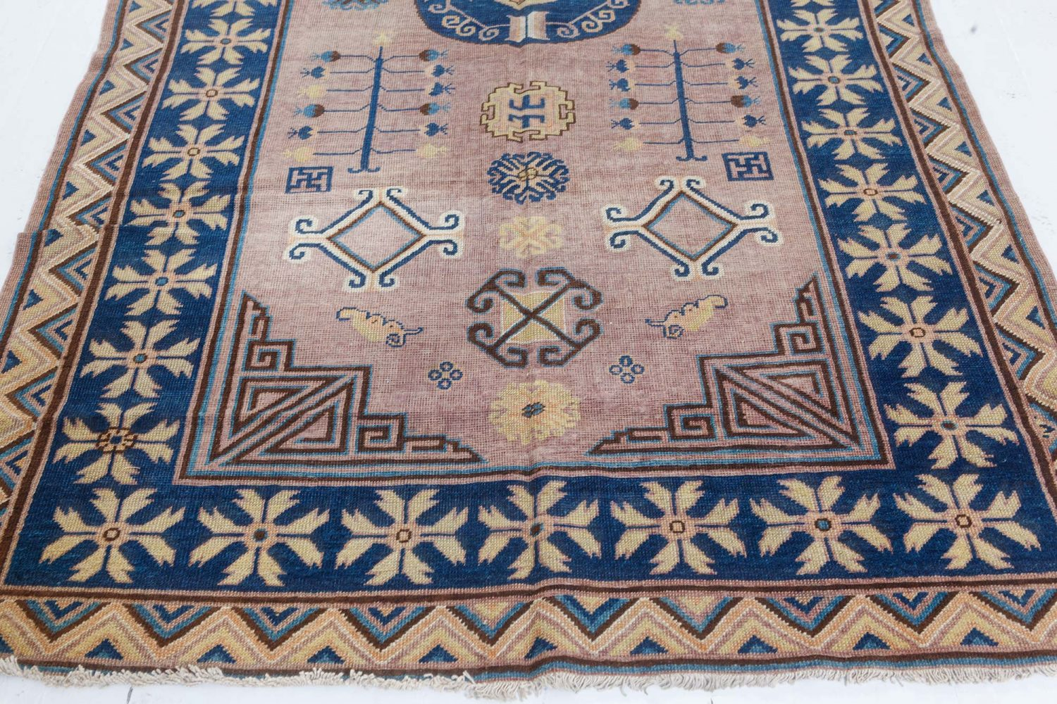 "Vintage Samarkand ""Khotan"" Light Brown and Blue Hand Knotted Wool Rug BB7429"