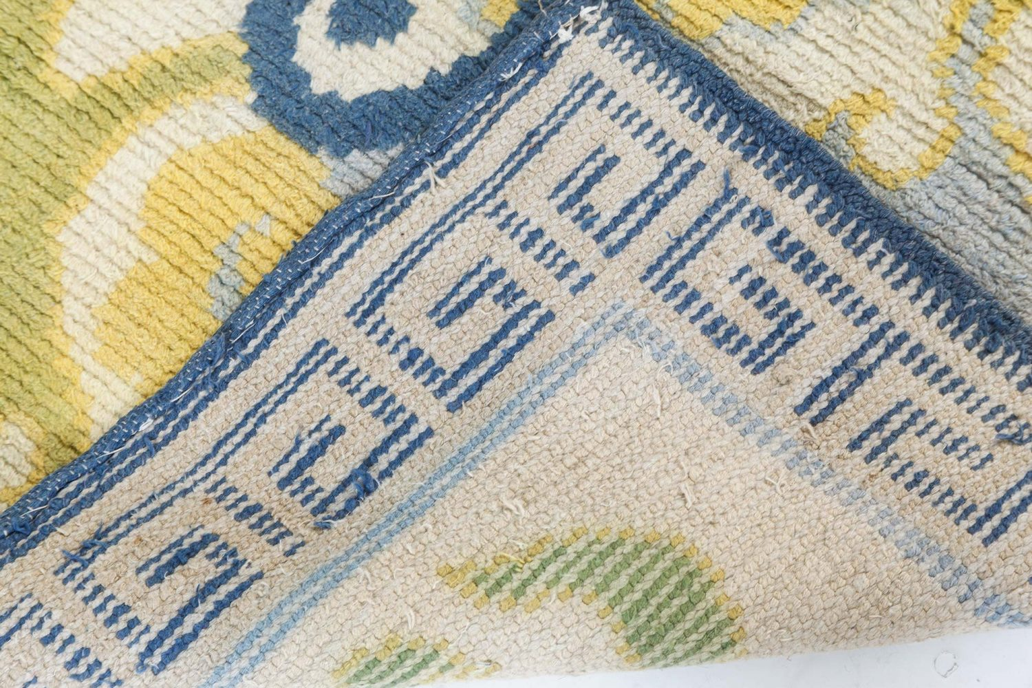 Vintage Japanese Ivory, Blue and Green Handwoven Wool Rug BB7431