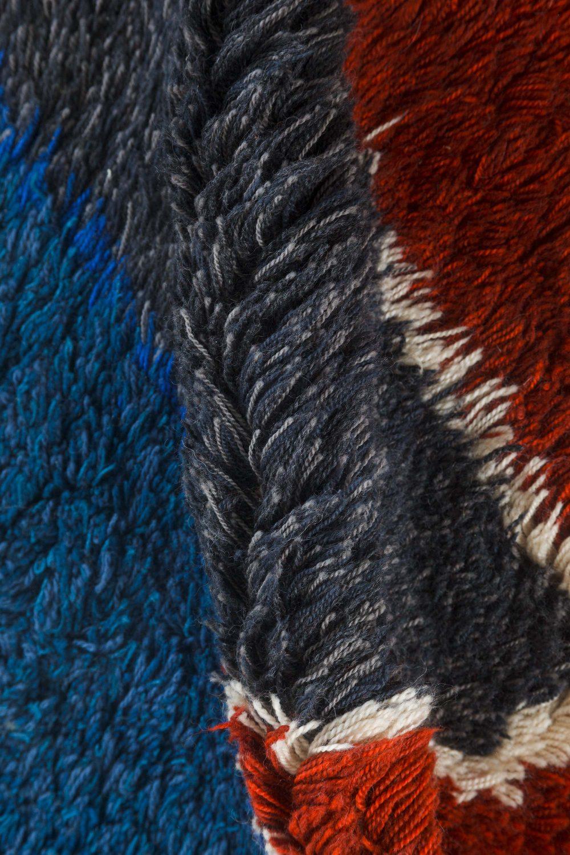 Scandinavian Yellow, Blue, Red & Black Handwoven Wool Rug BB7440