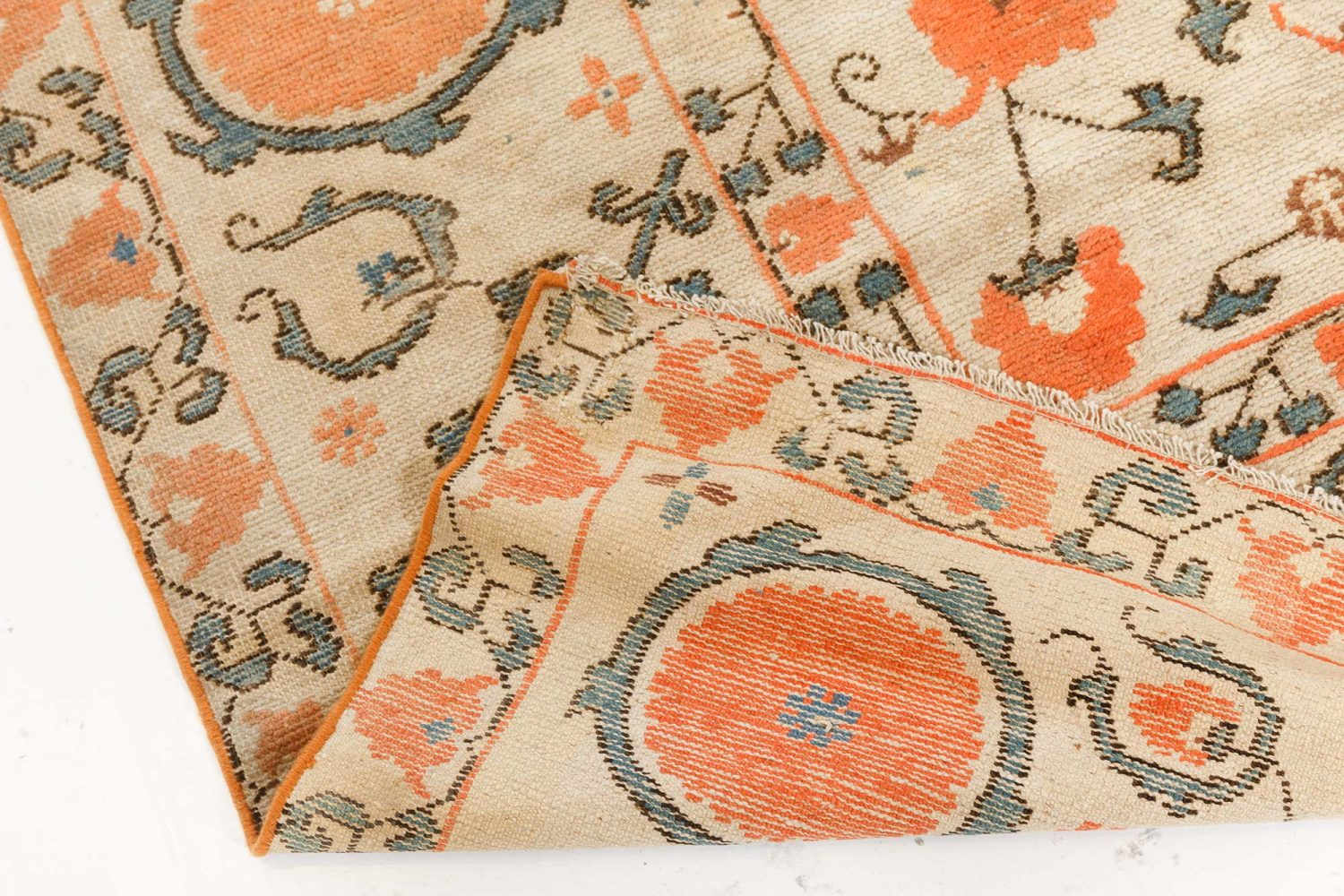 Orange Vintage Samarkand Khotan Carpet BB7450