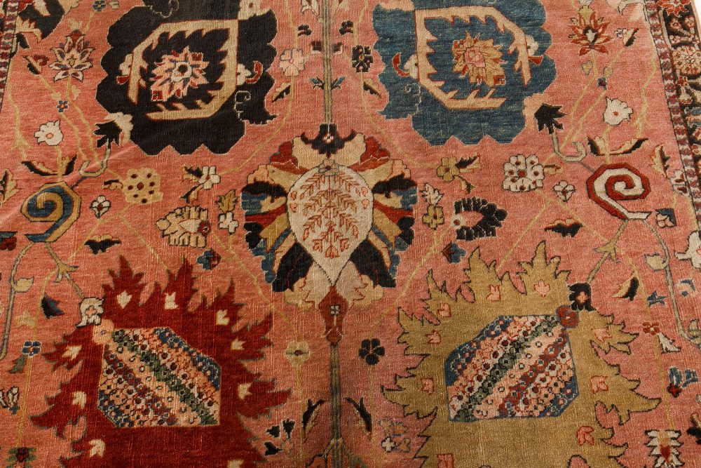 Antique Persian Tabriz Hand-knotted Silk Pink & Red Carpet BB7451