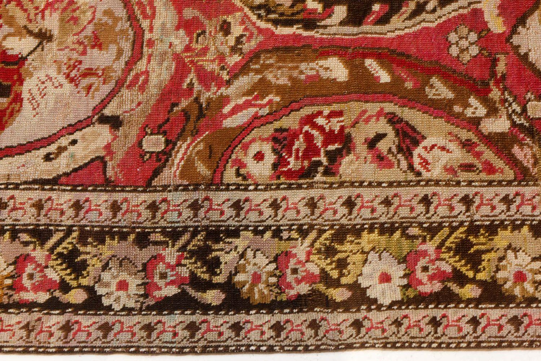 1900s Caucasian Karabagh Botanic Rose Red Handmade Wool Carpet BB7455
