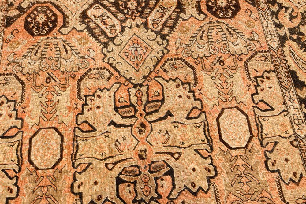 Vintage Karabagh Salmon & Dark Brown Handwoven Wool Rug BB7459