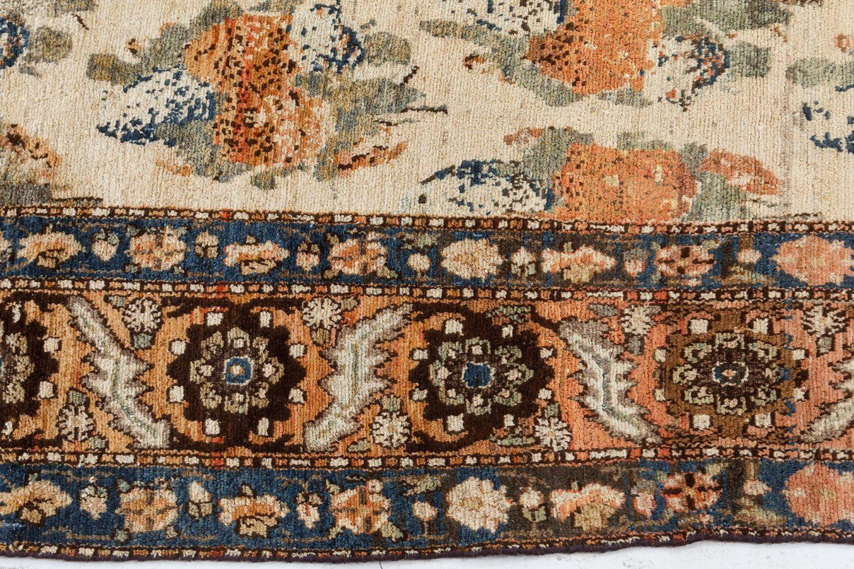 Antique Persian Bakhtiari Cream and Salmon Handwoven Wool Rug BB7471