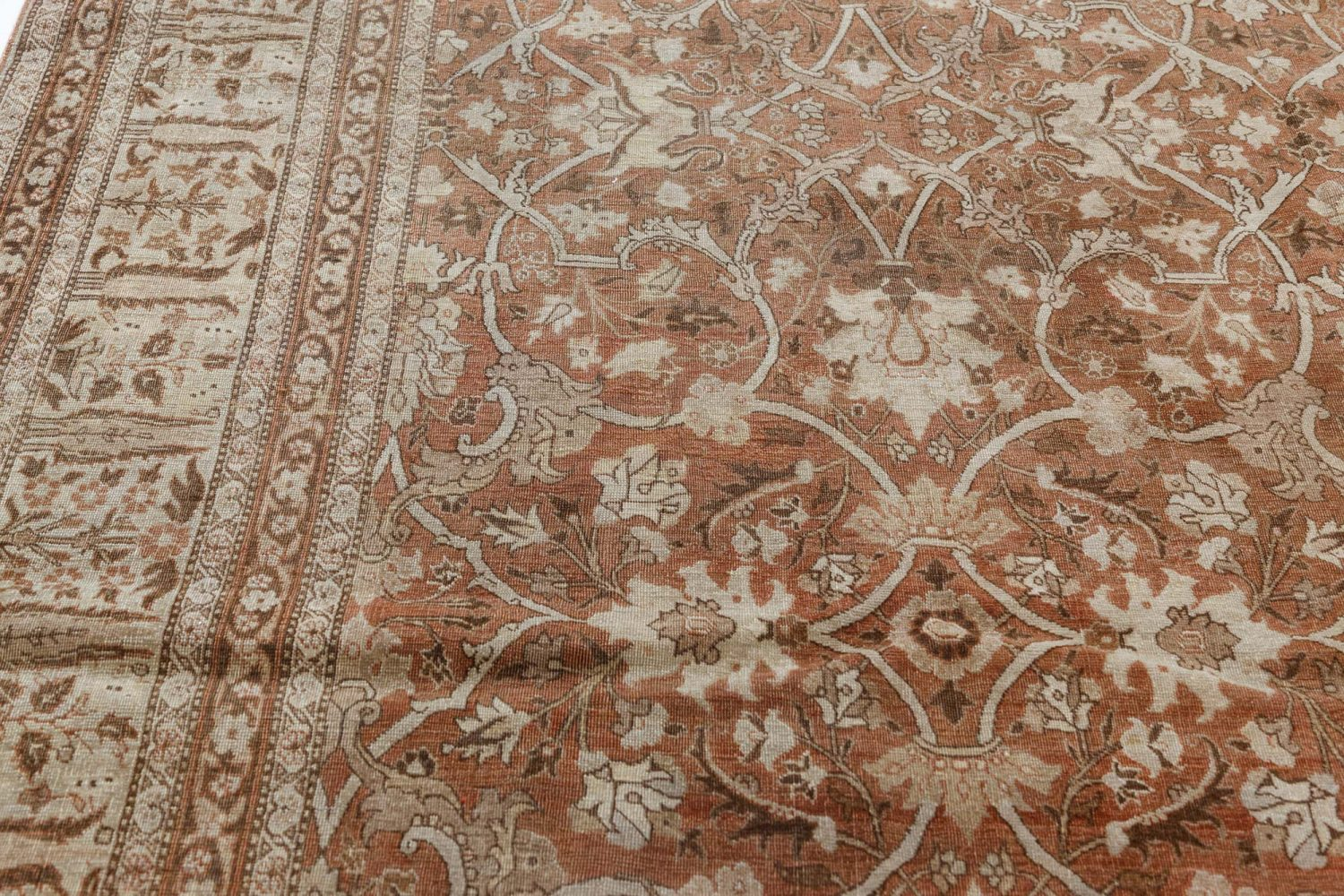 Vintage Persian Tabriz Cinnamon and Sand Handwoven Wool Rug BB7485