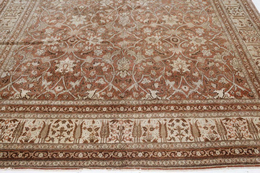 Vintage Persian Tabriz Cinnamon and Sand Handwoven Wool Rug BB7485