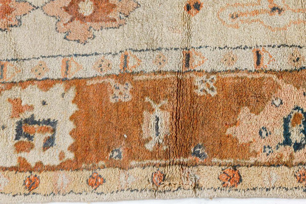 Vintage Turkish Oushak Cream and Brown Handwoven Wool Rug BB7487
