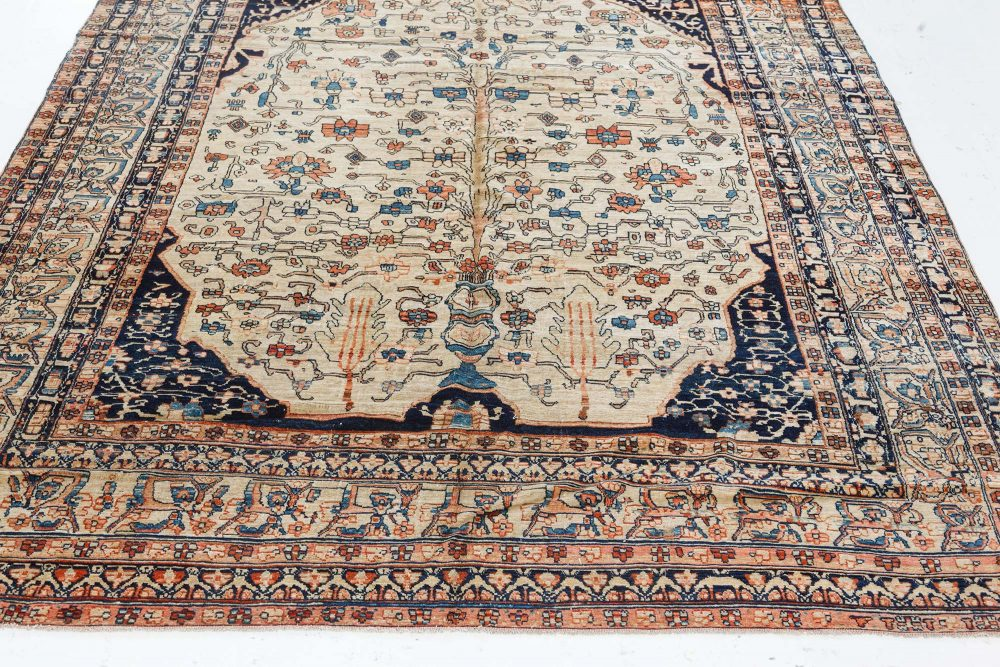 Late 19th Century Persian Tabriz Floral Handwoven Wool Rug BB7493