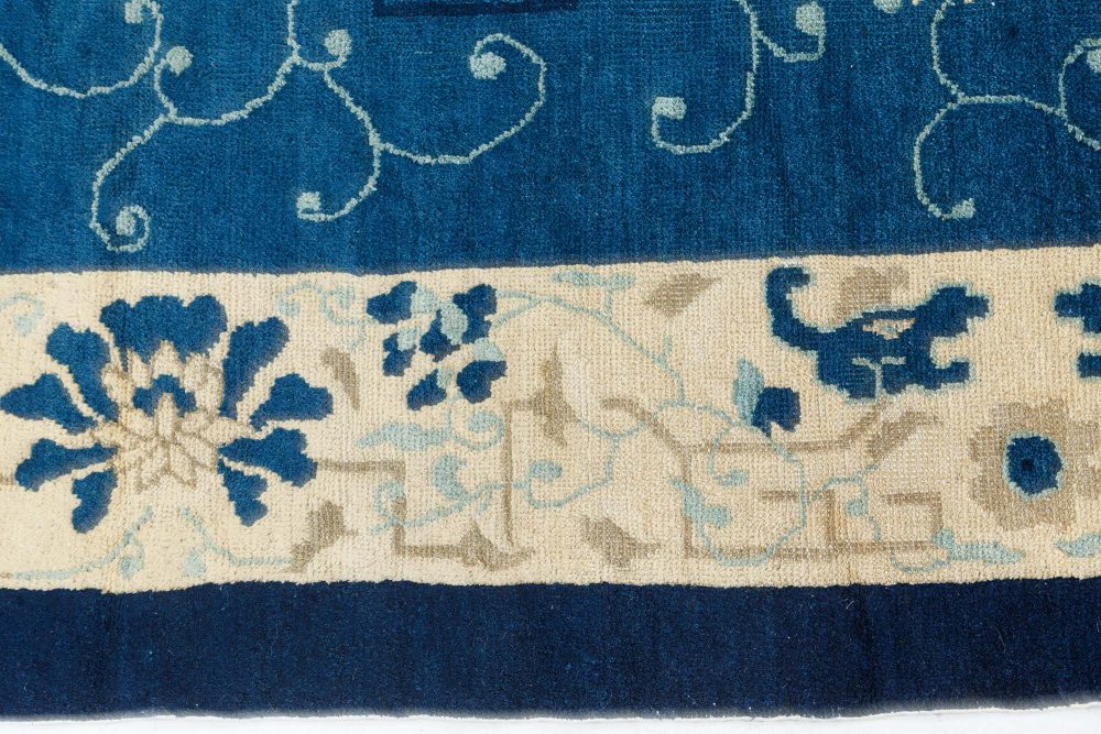 Vintage Chinese Indigo Blue and Ivory Handwoven Wool Carpet BB7533