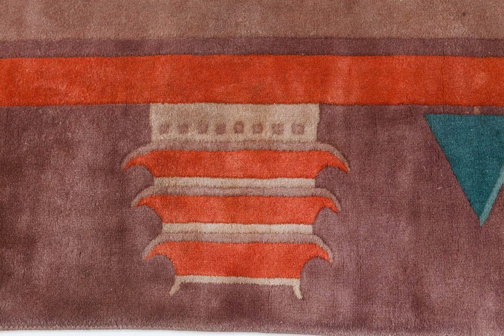 Midcentury Chinese Art Deco Brown, Red and Green Wool Rug BB7537