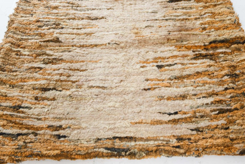 Midcentury Beige & Yellow Hand Knotted Wool Rag Rug BB7538