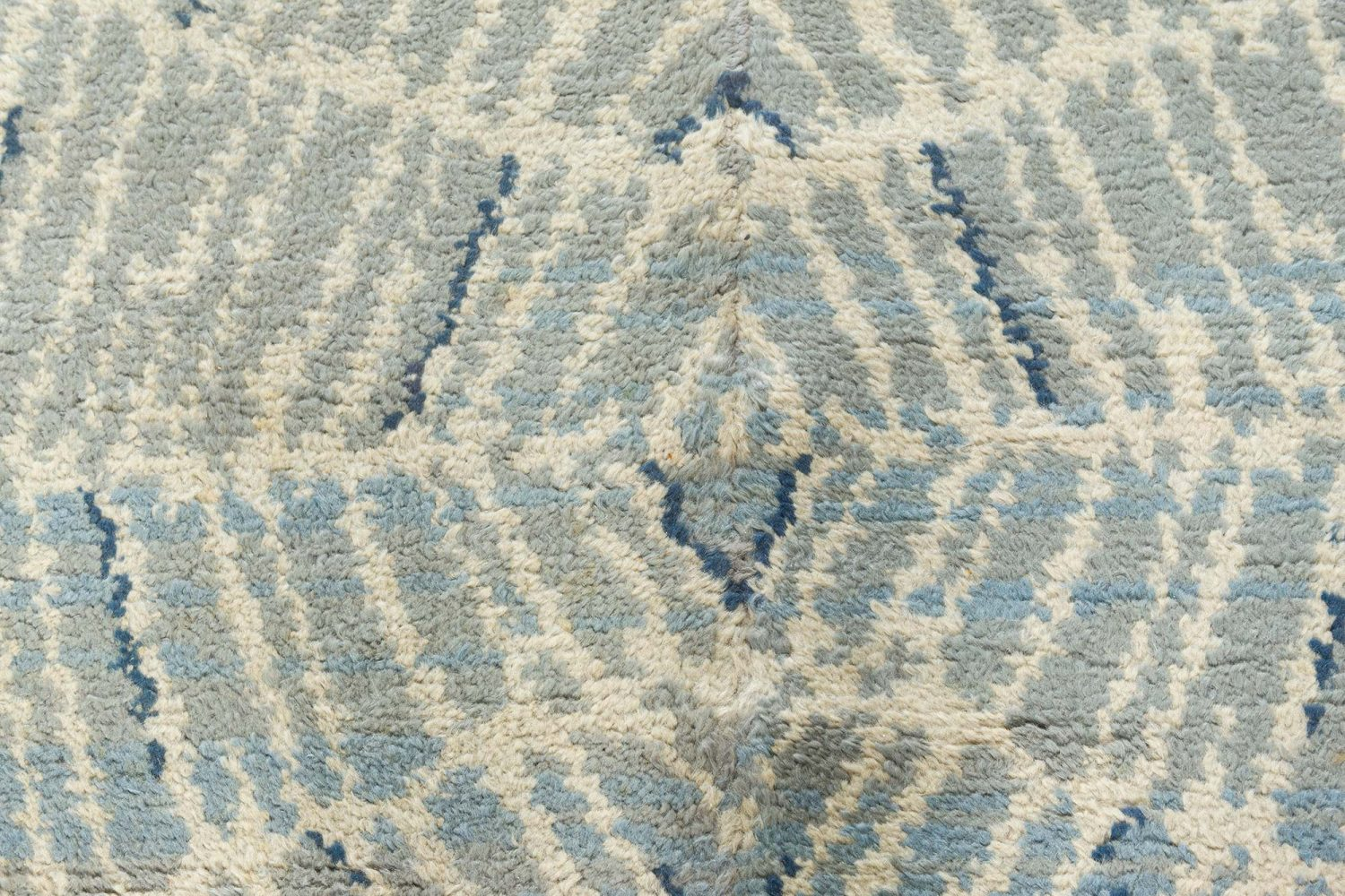 Vintage Art Deco Ivory, Blue and Midnight Blue Handwoven Wool Runner BB7539