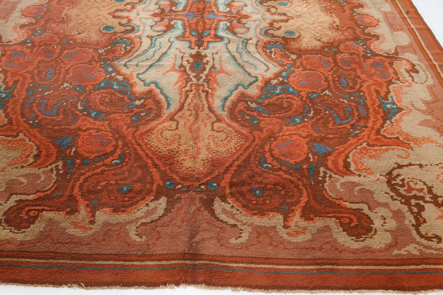 Viennese Art Deco Rug in Bold Shades of Red BB7540
