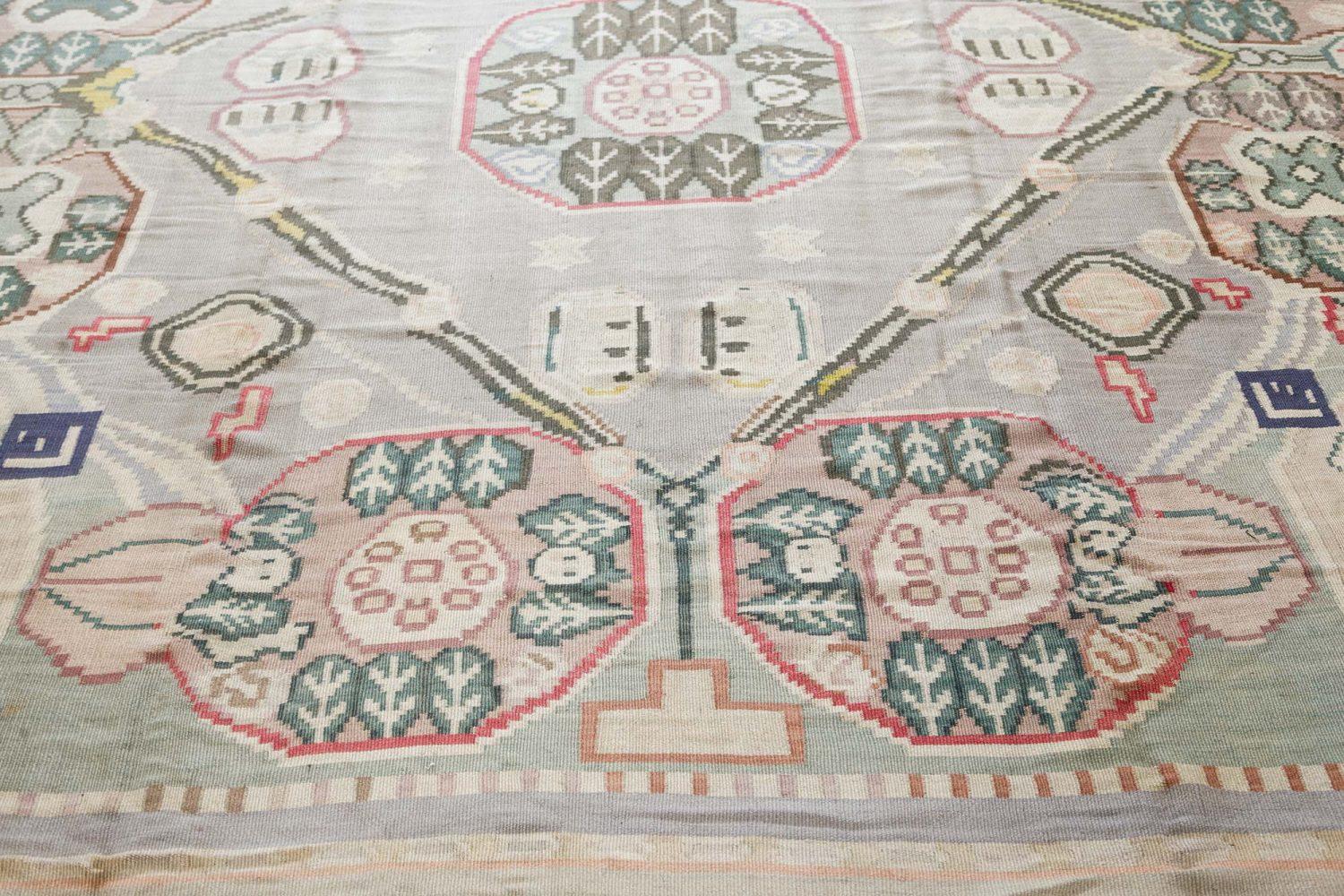 Vintage Bessarabian Hand Knotted Wool Rug BB7546
