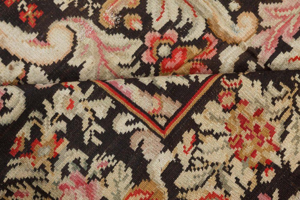 Vintage Russian Bessarabian Floral Handwoven Wool Rug BB7548