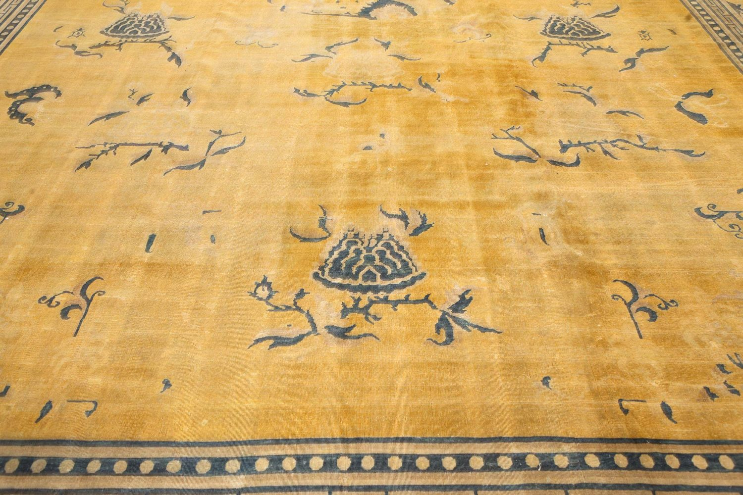 Antique Chinese Golden Yellow Handwoven Wool Rug BB7558