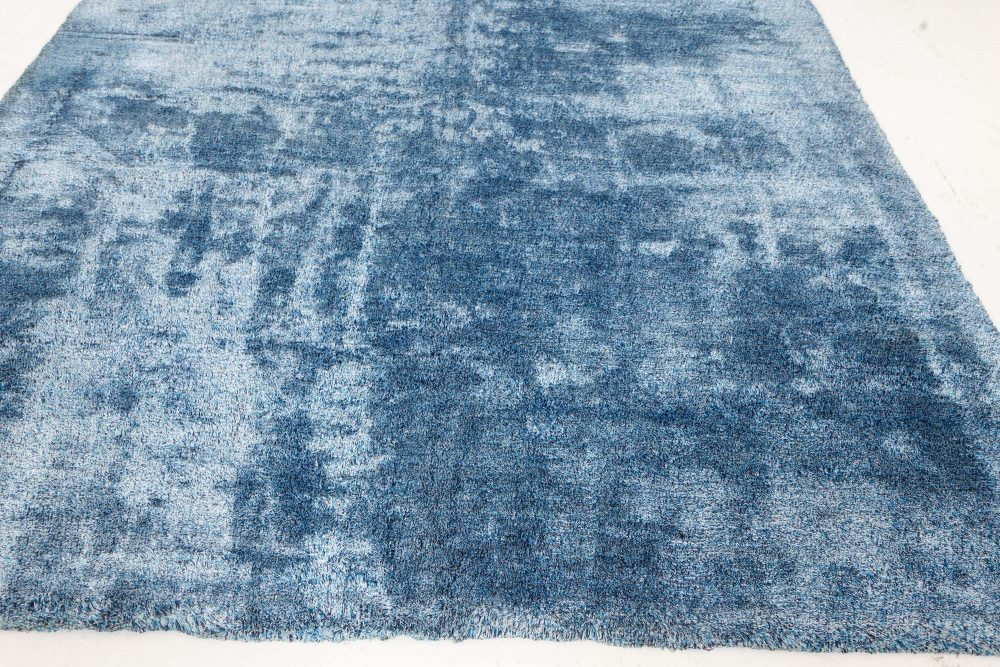 French Modernist Midcentury Blue Handwoven Wool Rug BB7561