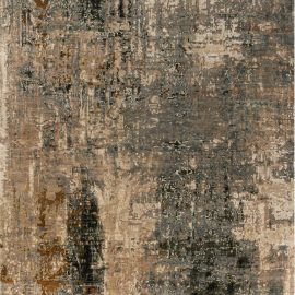 """Abstract """"Digital Age"""" Caramel, Brown and Black, Wool and Silk Rug N10405"""