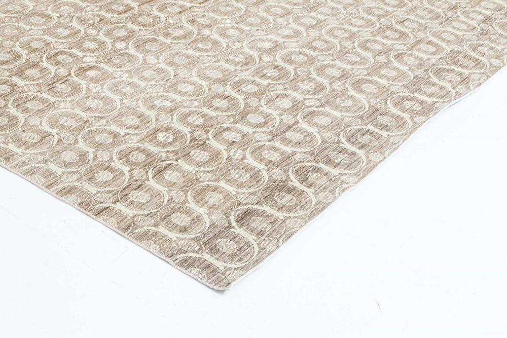 Circular Silk Beige & Brown Rug N11060