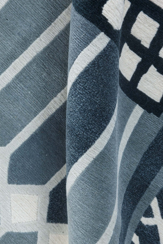 Modern Swedish Dark Green and Ecru Handwoven Wool Pile Rug N11310