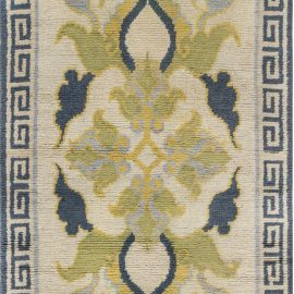 Japanese Handwoven Wool Rug in Cream, Blue and Green Floral Design BB7430