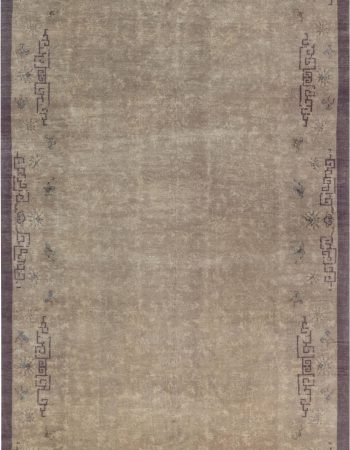 Samarkand Handmade Wool Rug in Brown, Gold, Green, Purple and White BB7018
