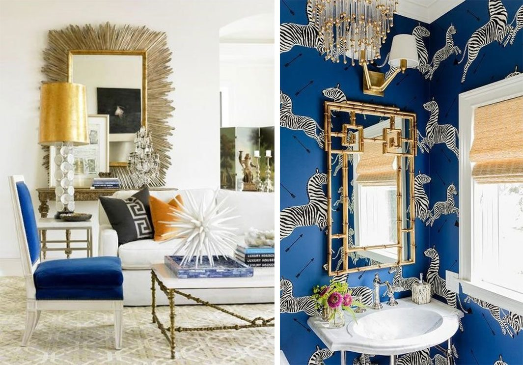 hollywood regency living room chic elegant interior zebra wallpaper