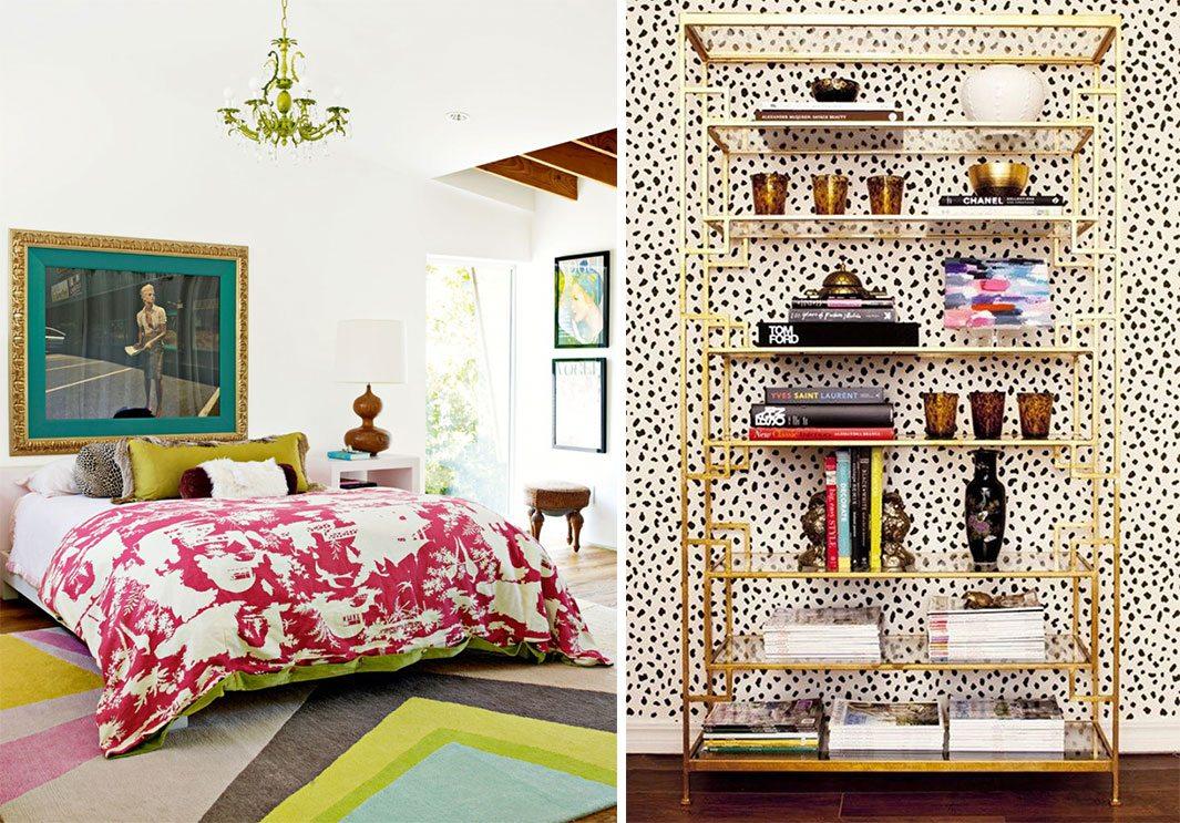 hollywood regency colorful bedroom