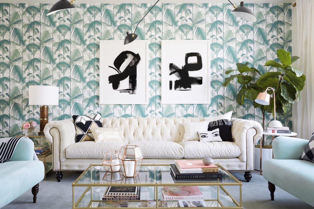 hollywood regency living room chic elegant interior palm wallpaper