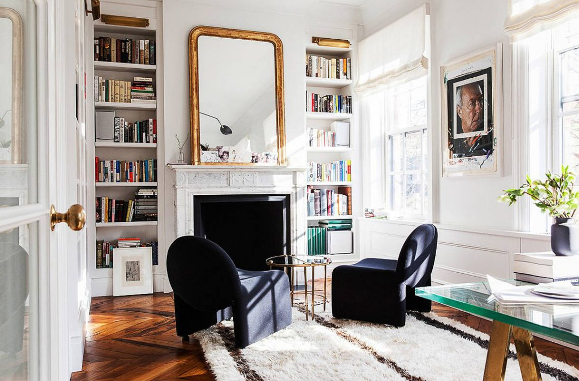 elegant chic living room white interior