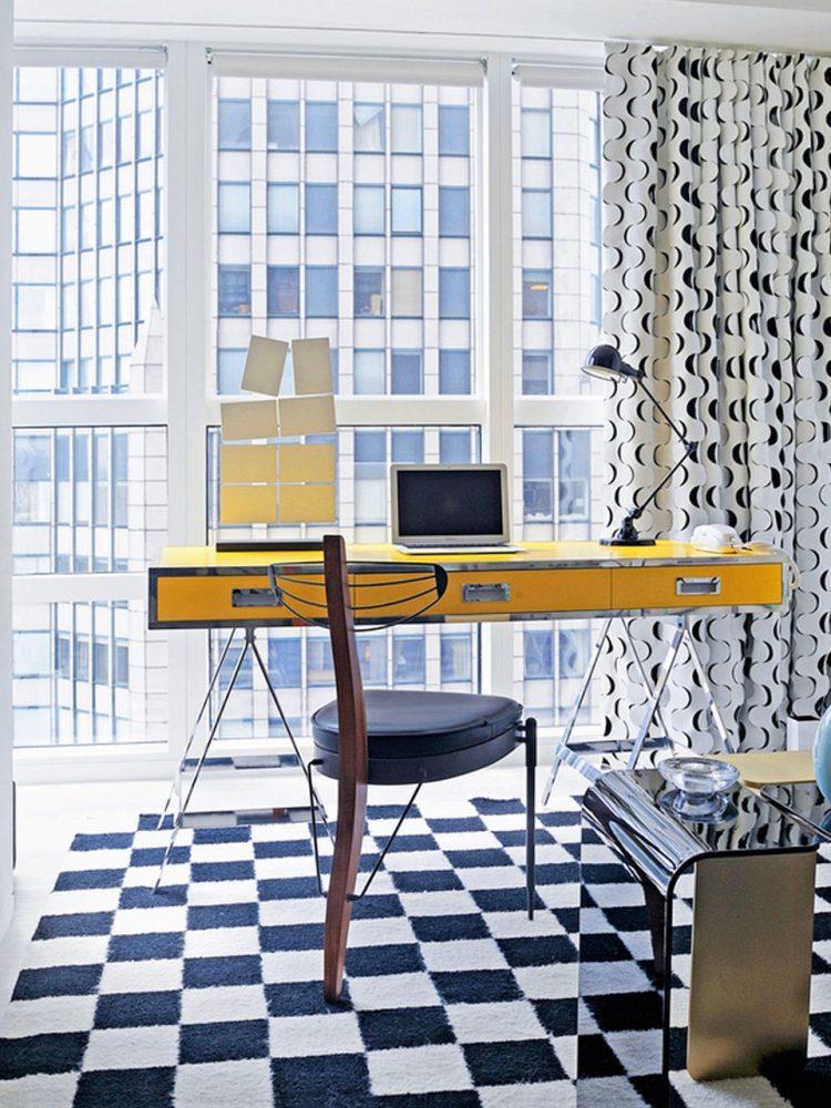 Retro vintage office in blue & yello with Doris leslie Blau rug