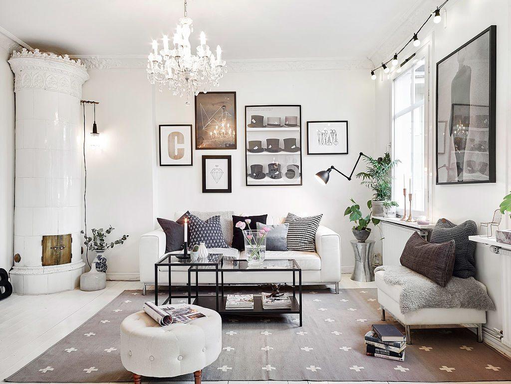 Scandinavian country interior decor Scandinavian rug white living room