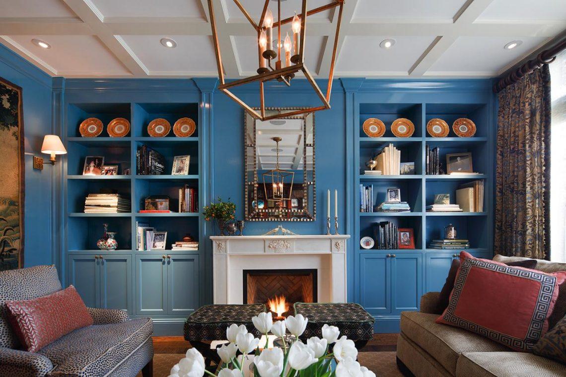 Elegant blue living room interior decor