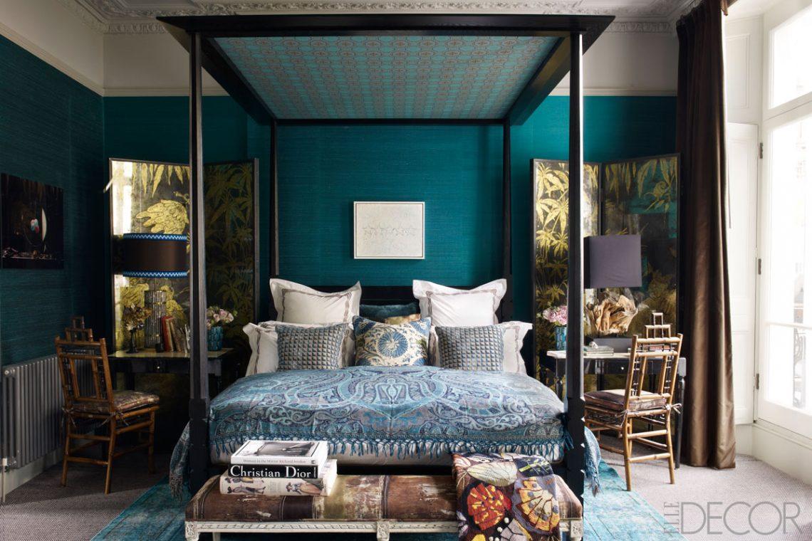 elegant blue bedroom room interior decor