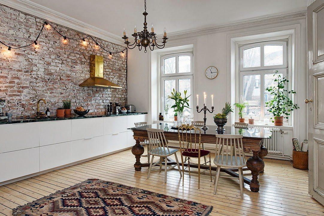 Scandinavian country interior decor Scandinavian rug brick wall kitchen
