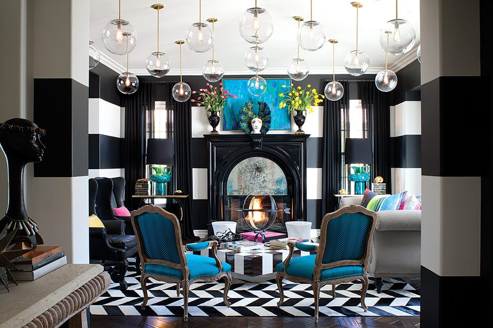 elegant modern blue living room interior decor