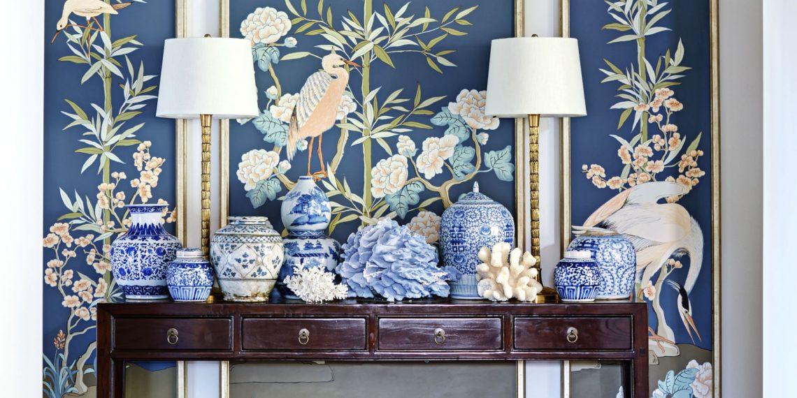 elegant living room interior decor gold wallpaper botanical