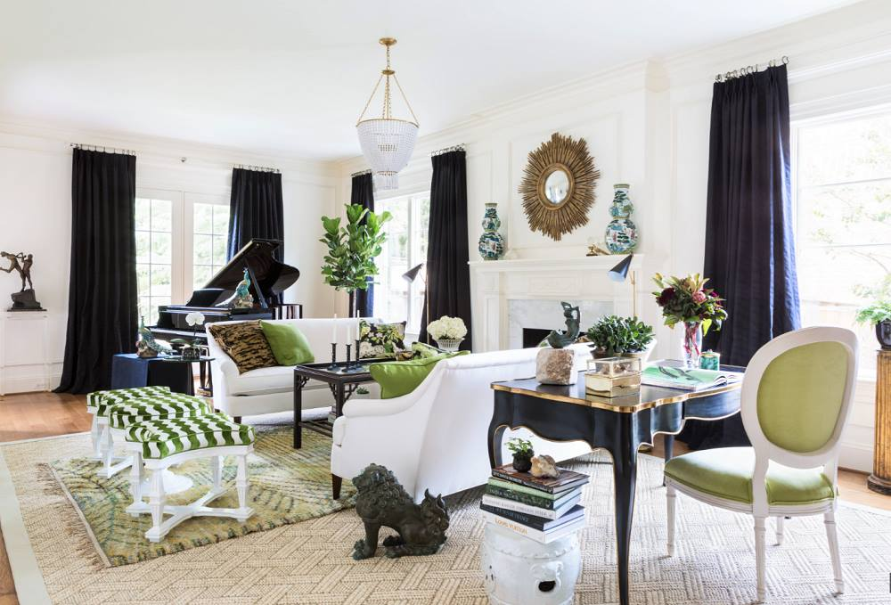 A living room designed with Doris Leslie Blau Swedish Rug