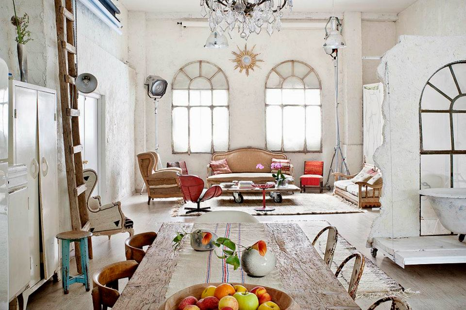 Eclectic Shabby Chic Interior Living Room Crystal Chandelier French  Countryside Interior Decor