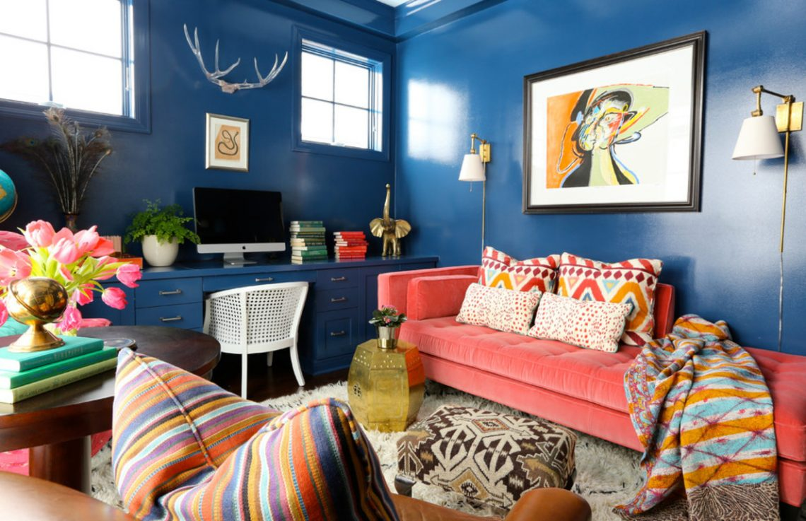 Eclectic shabby chic interior living room blue living room colorful interior