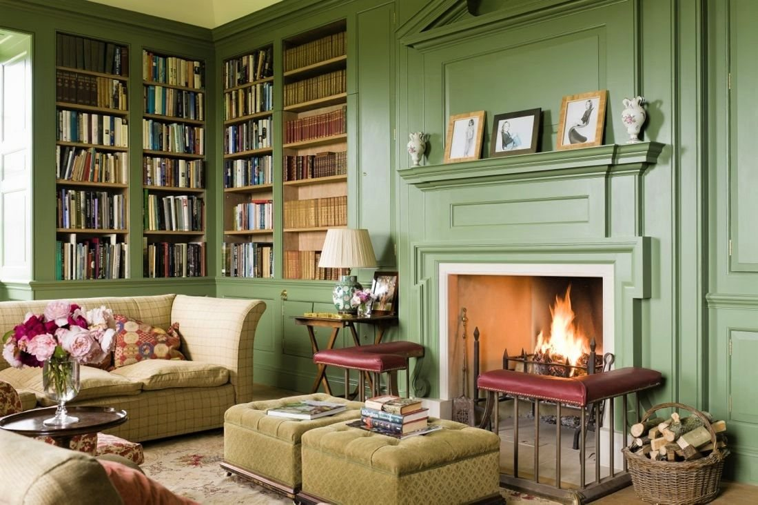 pantone color 2017 greenery green elegant living room decor fireplace