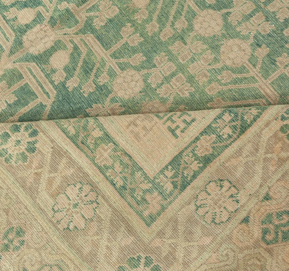 Vintage Samarkand Dark Teal and Ivory Beige Hand Knotted Wool Rug BB6365