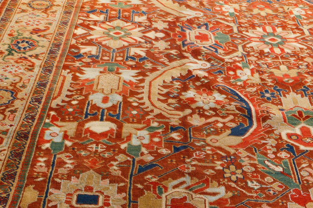 Early 20th Century Colorful Persian Heriz Handwoven Wool Carpet BB7203