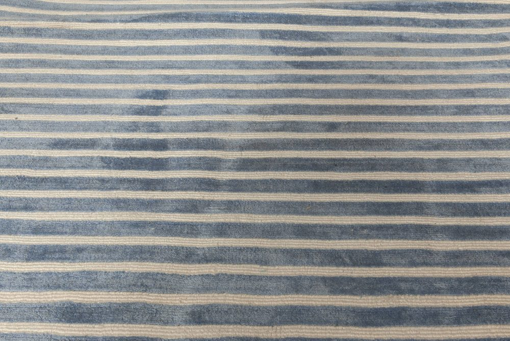 Contemporary Light Blue and White Striped Hand Tufted Rug N11561