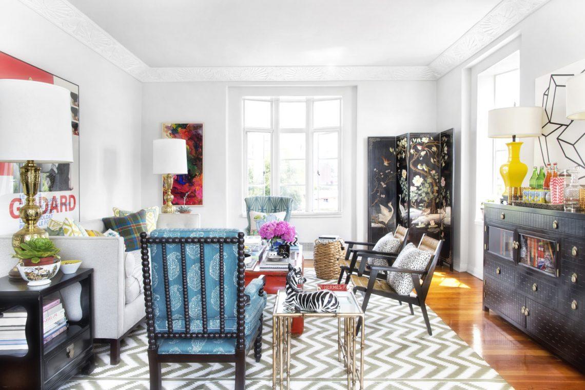 eclectic shabby chic interior living room zig zag pattern rug vintage furniture hollywood regency
