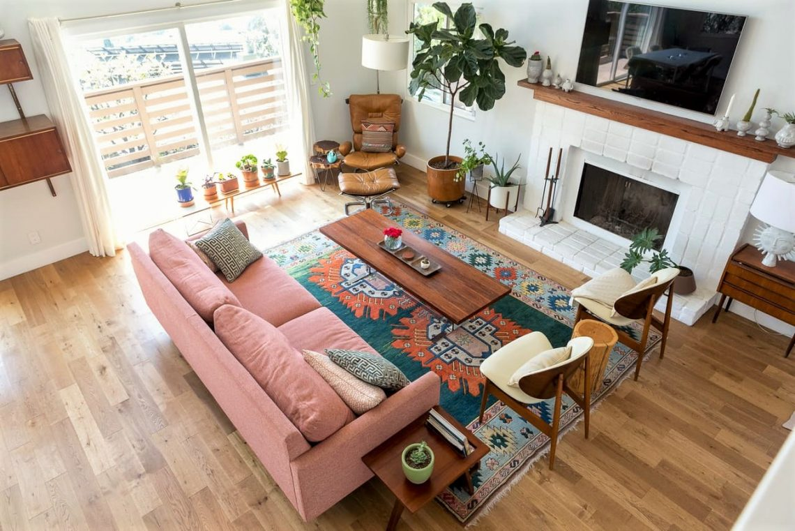 boho interior decor, bohemian interior, bohemian decor, plants in living room, vintage rug, vintage interior, modern interior